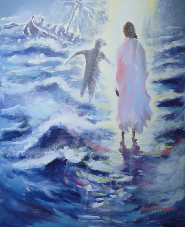 Jesus Peter Walking On Water-Mural