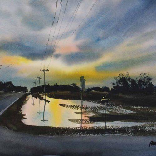 County Road A & 100th - original watercolor by Paul Oman