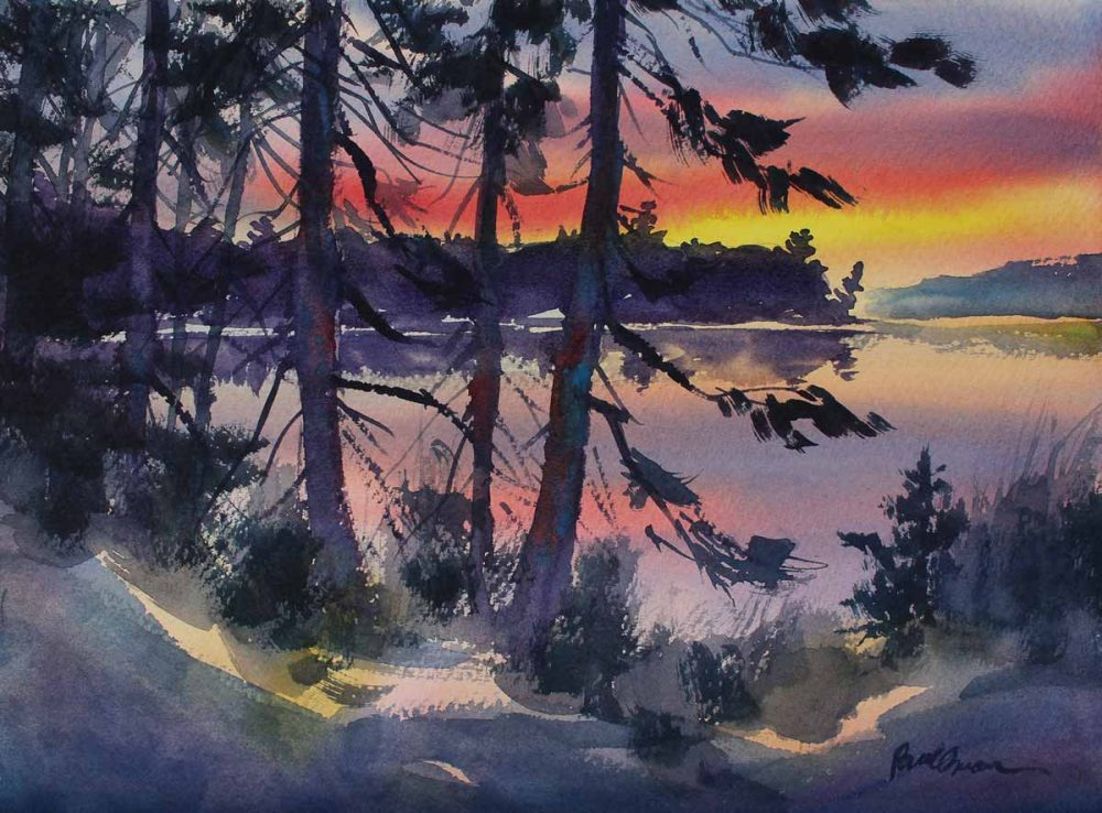 Last Light - original watercolor by Paul Oman