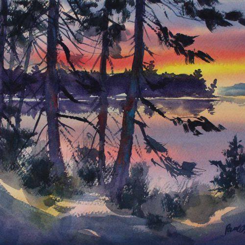Last Light - original watercolor by Paul Oman