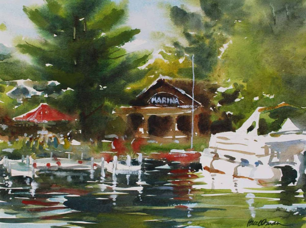Mort's Marina, Lake Wapo - original watercolor by Paul Oman