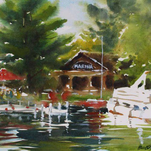 Mort's Marina, Lake Wapo - original watercolor by Paul Oman