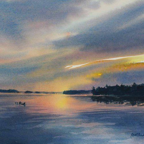 Reflections of Loon Lake - original watercolor by Paul Oman