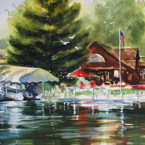Safe Harbor, Mort's Marina - original watercolor by Paul Oman