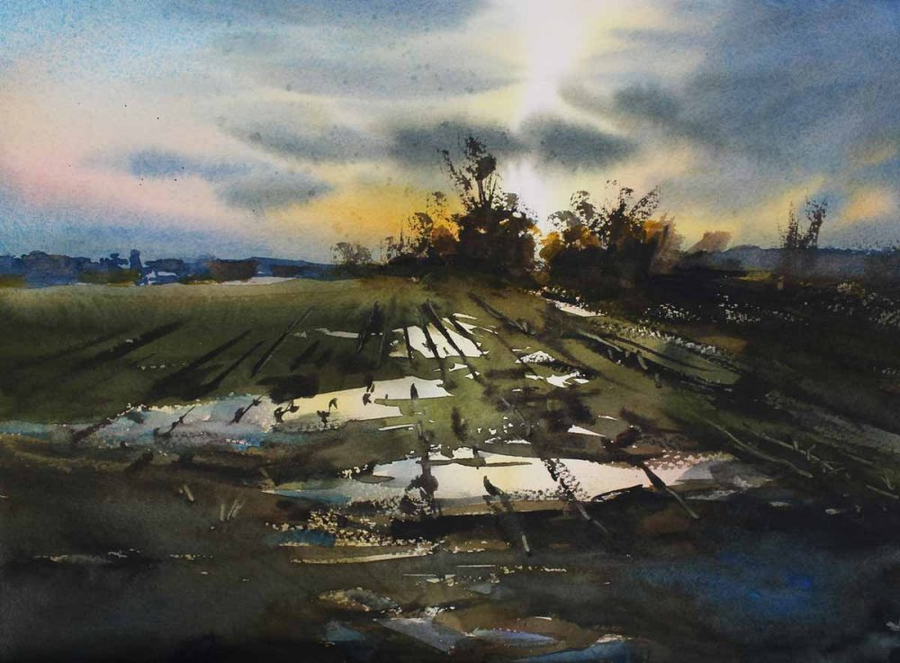 Spring Field - original watercolor by Paul Oman