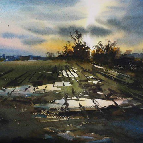 Spring Field - original watercolor by Paul Oman