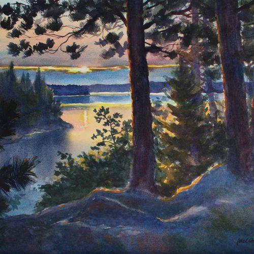 Sundown on Loon Lake - original watercolor by Paul Oman