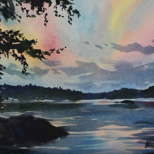 Sunset Afterglow - original watercolor by Paul Oman