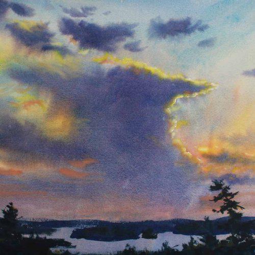 Towering High - original watercolor by Paul Oman