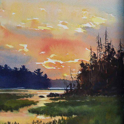 Wild Rice On Upper Pauness - original watercolor by Paul Oman